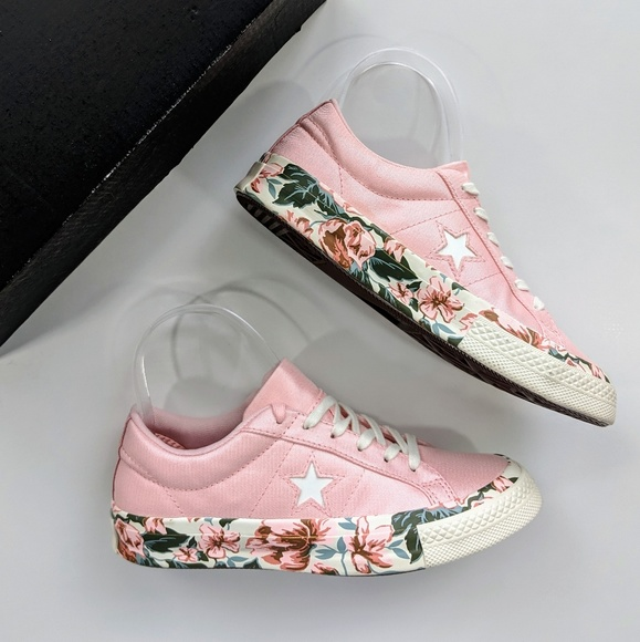 Converse One Star OX Floral Print Storm Pink NWT